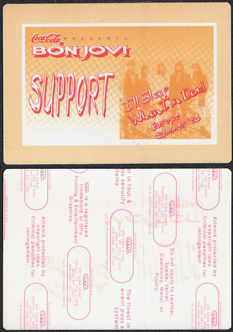 ##MUSICBP0674 - Bon Jovi OTTO Cloth Backstage Support Pass from the 1993 I'll Sleep When I'm Dead Tour