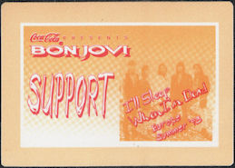 ##MUSICBP0674 - Bon Jovi OTTO Cloth Backstage Pass from the 1993 I'll Sleep When I'm Dead Tour
