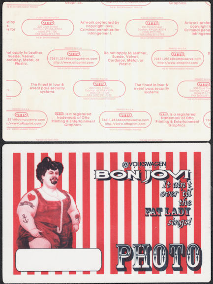 ##MUSICBP0717  - Huge Bon Jovi OTTO Cloth Backstage Pass from the 1993 It Ain't Over Till the Fat Lady Sings Tour