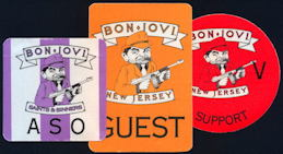 ##MUSICBP0121 - Bon Jovi OTTO Cloth Backstage pass for 1988/89 Saints & Sinners Tour - As low as $2.50 each