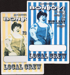 ##MUSICBP0276  - Pair of Bon Jovi 1993 OTTO Cloth Local Crew Backstage Passes from the It Ain't Over Till the Fat Lady Sings Tour