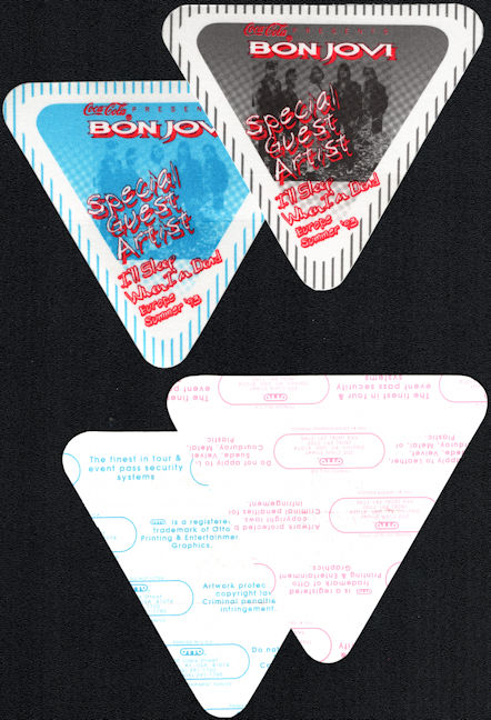 ##MUSICBP0712  - Two Different Colored Bon Jovi Cloth OTTO Cloth Special Guest/Artist Backstage Passes from the 1993 I'll Sleep When I'm Dead Tour