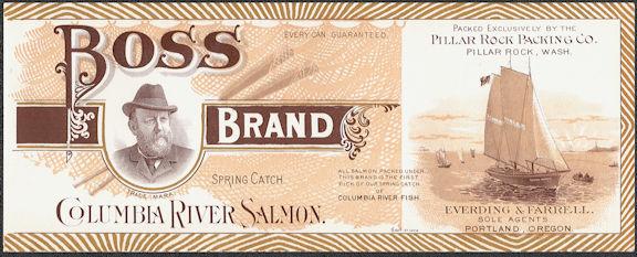 #ZLCA299 - Super Rare Early Boss Brand Columbia River Salmon Label