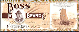#ZLCA299 - Super Rare Early Boss Brand Columbia River Salmon Label