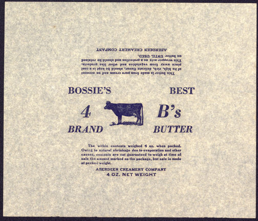 #DA054 - Group of 4 Bossie's Best Butter Parchment Picturing a Cow