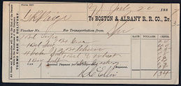 #ZZZ119 - 1880s Boston & Albany Railroad Voucher/Receipt