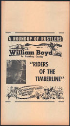 #CH326-26 - William Boyd (Hopalong Cassidy) Riders of the Timberline Poster/Broadside - As low as $7.50 each
