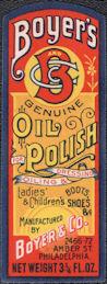 #ZBOT212 - Boyer's Oil Polish Shoe Dressing Bottle Label