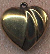 #BEADSC0285 - Double Sided Dimensional Brass Heart Pendant/Charm - As low as 25¢