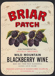 #ZLW155 - Briar Patch Wild Mountain Blackberry Wine Bottle Label