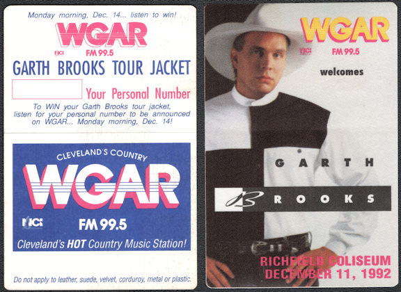 ##MUSICBP0664 - Garth Brooks OTTO Radio Pass for the 1992 Concert at Richfield Coliseum - Ropin' the Wind Tour