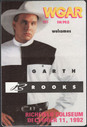 ##MUSICBP0664 - Garth Brooks OTTO Backstage Pass for the 1992 Concert at Richfield Coliseum - Ropin' the Wind Tour