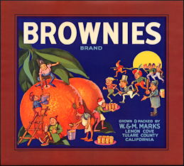 #ZLC402 - Brownies Brand Orange Crate Label - Palmer Cox Brownies