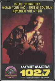 ##MUSICBP0766  - 1992 Bruce Springsteen Radio Promo OTTO Backstage Pass - WNEW 102.7 - Nassau Coliseum