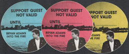 ##MUSICBP0605  - Group of 3 different 1987 Bryan Adams Into the Fire OTTO Cloth Oval Backstage Pass