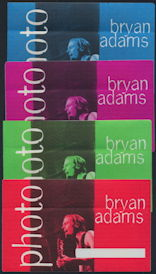 ##MUSICBP0286 - Group of 4 Huge Oversized Bryan Adams OTTO Cloth Backstage Passes from the 1996 Til I Die Tour (All Different Colors)