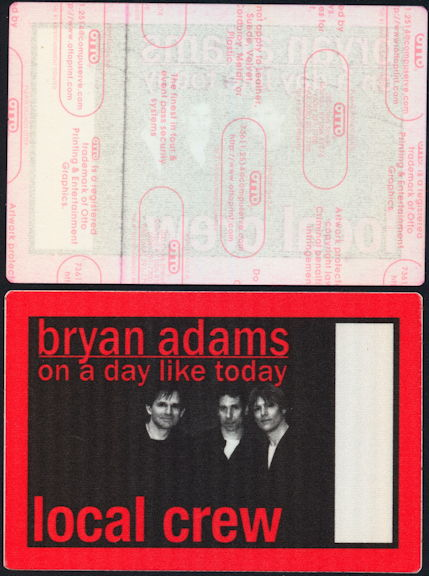 ##MUSICBP0456 - Bryan Adams OTTO Cloth Local Crew Backstage Pass from the 1998 On a Day Like Today Tour