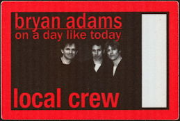 ##MUSICBP0456 - Bryan Adams OTTO Cloth Backstage Pass from the 1998 On a Day Like Today Tour