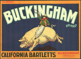 #ZLC466 - Buckingham California Bartletts Pear Crate Label - Vacaville, California