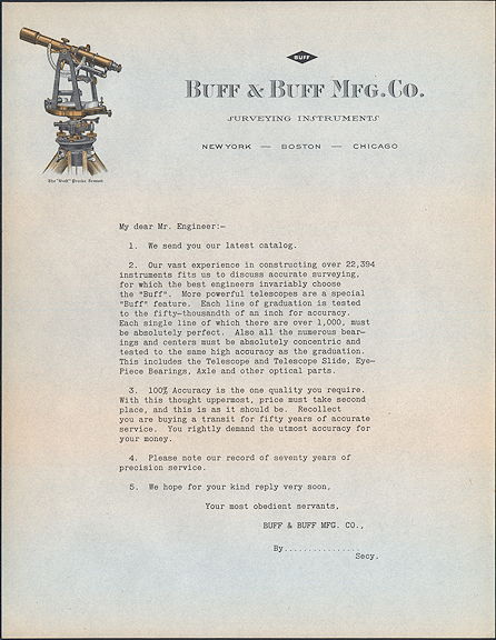 #ZZZ139 - Buff & Buff Surveying Instruments Letter - Detailed Telescope Pictured