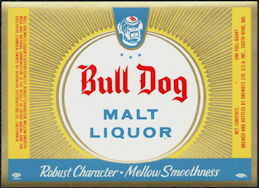 #ZLBE125 - Bull Dog Malt Liquor Beer Bottle Label - South Bend Indiana