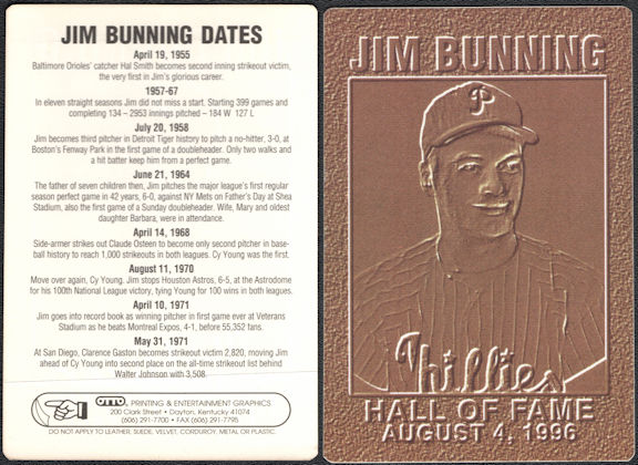 #BA139 - Super Rare 1996 Jim Bunning Hall of Fame Baseball Card Made by OTTO for the Induction Ceremony