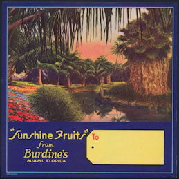 #ZLC371 - Burdine's Sunshine Fruits Shipping Gift Crate Label