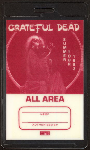 ##MUSICBP0389.1  - Rare Burgundy 1982 Grateful Dead OTTO Laminated Backstage Pass from the Summer Tour