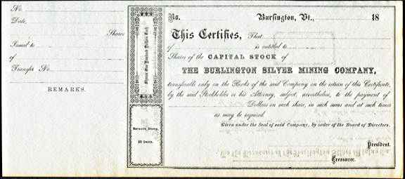 #ZZCE088 - Very Old The Burlington Silver Mining Company Stock Certificate