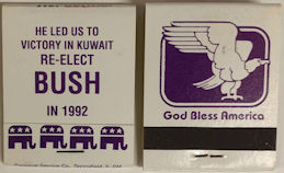 #PL349 - Re-Elect Bush in 92 Unused Pack of Matches