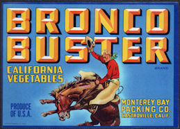 ZLSH406 - Group of 12 Bronco Buster California Vegetables Crate Labels - Cowboy on Bucking Bronco