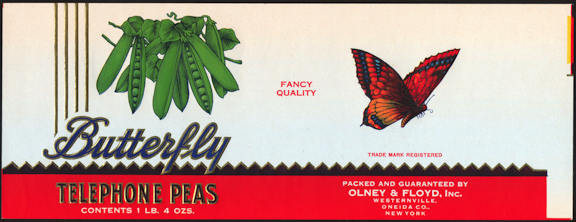 #ZLCA216 - Olney & Floyd Butterfly Telephone Peas Label - Oneida, NY