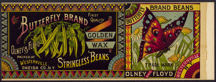 #ZLCA181 - Very Rare and Very early Butterfly Brand Golden Wax Stringless Beans Can Label