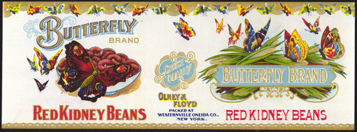 #ZLCA147 - Very Rare and Very early Butterfly Brand Red Kidney Beans Can Label