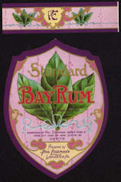#ZBOT148.1 - Very Fancy Early Eisemann's Bay Rum Label with Neck Label - As low as 50¢ each