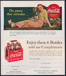 #CC333 - 1940s Coca Cola Two Part Ad Card/Coupon with Lady Leaning on the Grass with a Bottle of Coke