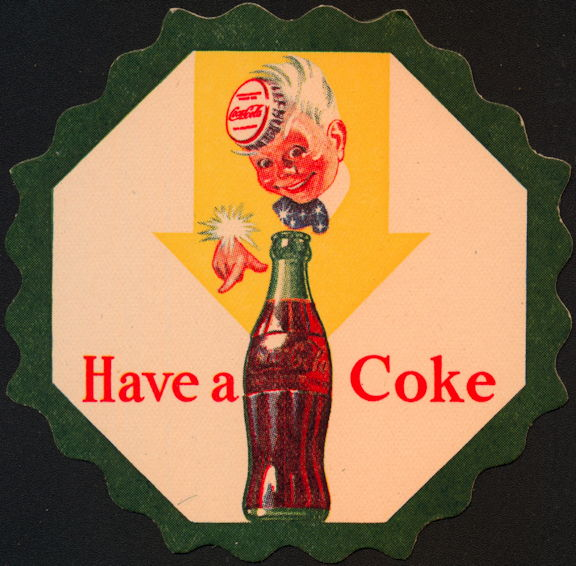 #CC188 - Coca Cola Coaster with Sprite Boy Tipping His Bottle Cap Hat