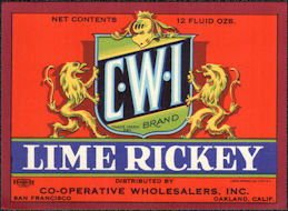 #ZLS240 - C-W-I Lime Rickey Soda Bottle Label