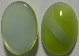#BEADS0895- Group of 6 Lime Green with White Stripe 14mm Glass Cabochons