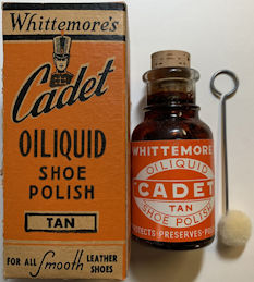 #CS437 - Cork Top Glass Bottle of Whittemore's Cadet Shoe Polish in Original Box