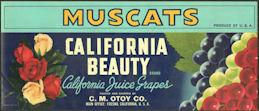 #ZLSG108 - California Beauty Muscats Grape Crate Label - Fresno, California