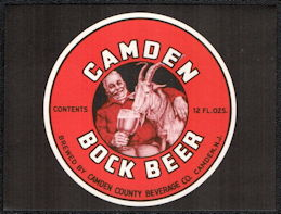 #ZLBE118 - Camden Bock Beer Bottle Label - Goat Drinking Beer