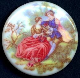 #BEADS0788 - Large West German Glass Cameo with Lovers in a Garden