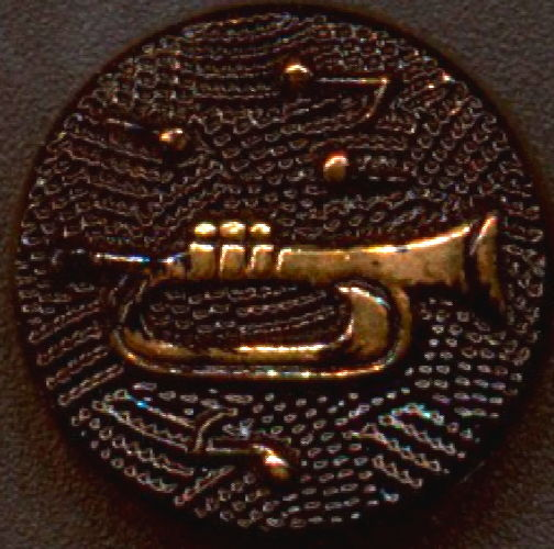#BEADS0851 - Embossed Glass Cabochon/Cameo with Musical Notes and Old Time Trumpet