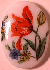 #BEADS0504 - 14mm Glass Cameo with a Large Tulip and Flowers Pictured - As low as 20¢ each