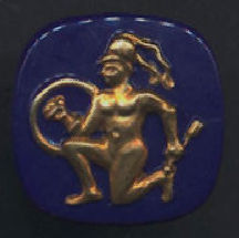 #BEADS0700 - Raised Relief 20mm Deep Cobalt and Gold Colored Warrior Glass Cameo