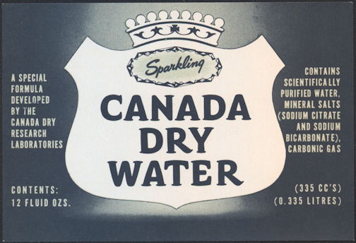 #ZLS214 - Canada Dry Sparking Water Soda Bottle Label