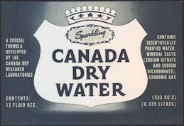 #ZLS214 - Canada Dry Sparking Water Soda Bottle Label