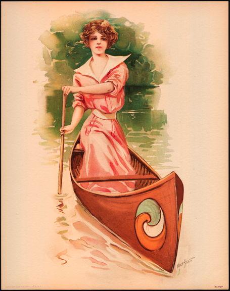 #MS170 - 1908 Victorian Print - Lady Paddling a Canoe
