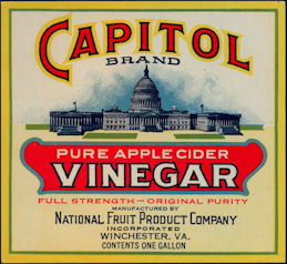 #ZBOT423 - Capitol Brand Pure Apple Cider One Gallon Vinegar Jug Label